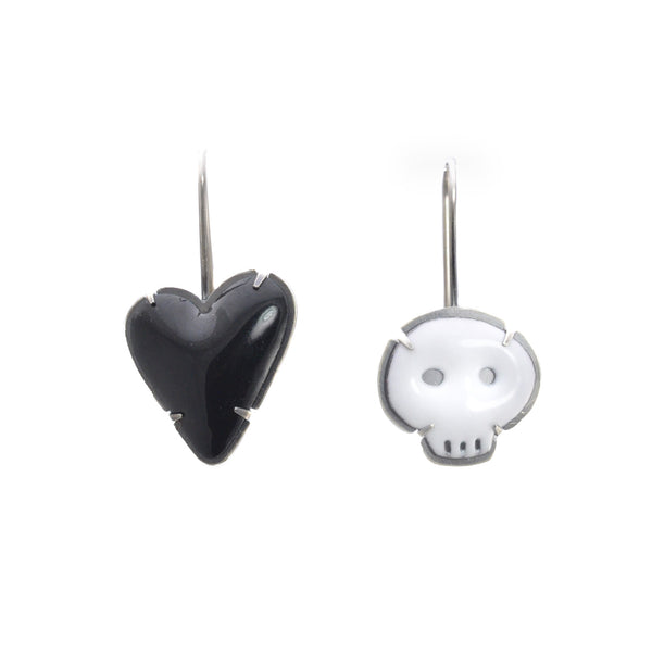 NEW! White Skull Black Heart Enamel Earrings by Lisa Crowder
