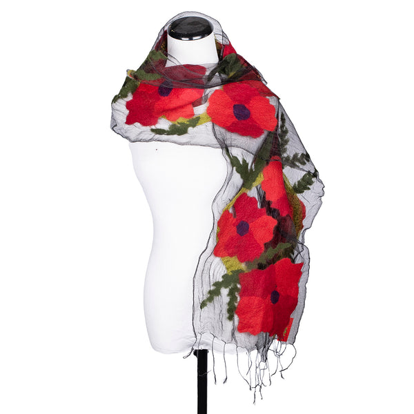 NEW! Illusion Scarf in Poppies by B. Felt
