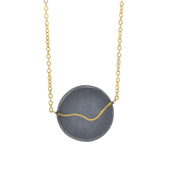 NEW! Inlay Coin Necklace in Black by Shaesby