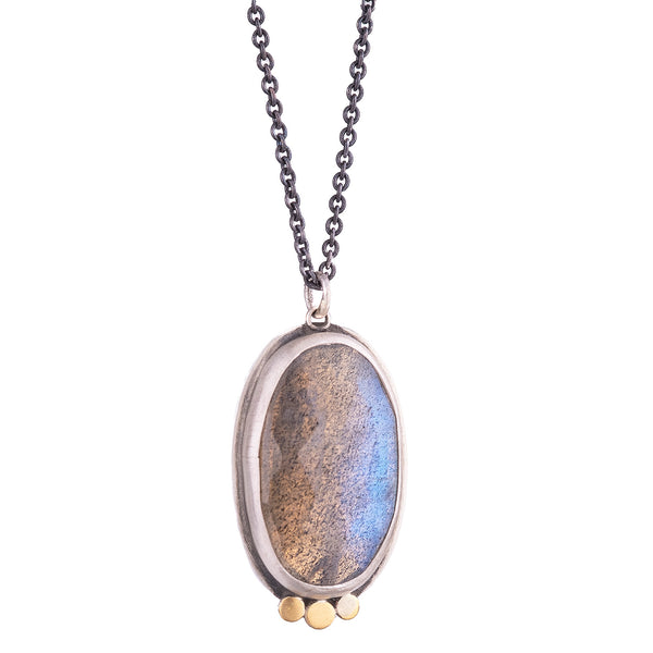 NEW! Rosecut Labradorite Necklace with 22k Dots by Ananda Khalsa