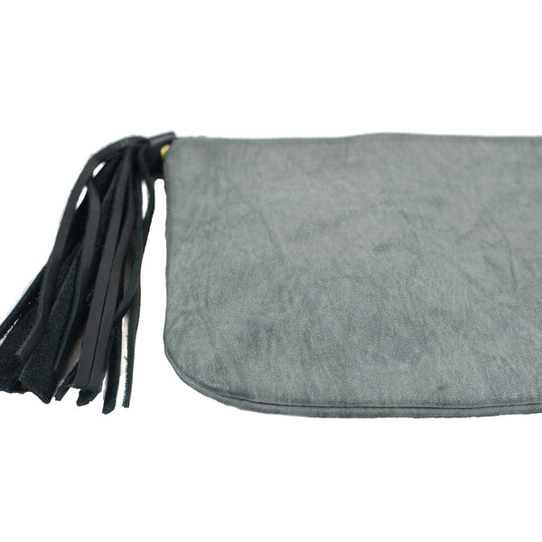 SALE! Leather Clutch with Tassle in Charcoal by Lady Bird Design