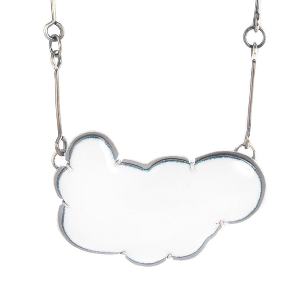NEW! Large Enamel Cloud Necklace in White by Lisa Crowder