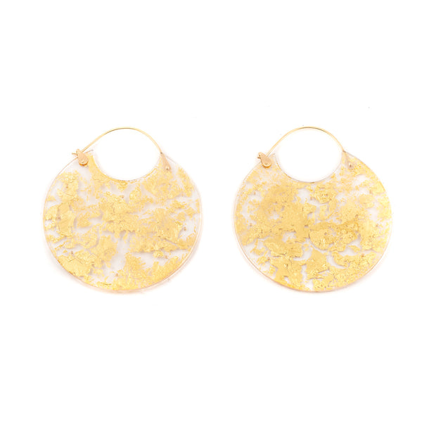 NEW! Large Gold Leaf Encasement Earrings by Luana Coonen