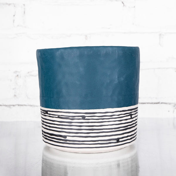 NEW! Large Round Pinched Planter with Stripes in Deep Ocean by Elizabeth Benotti