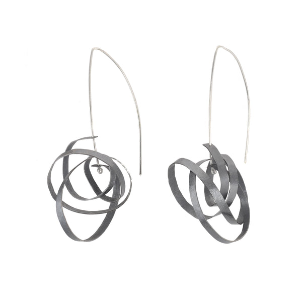 NEW! Large Oxidized Silver Scribble Drop Earrings by Melle Finelli