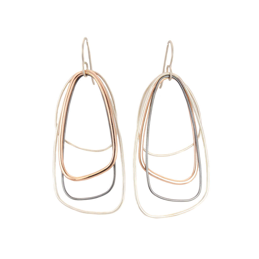 Rose Gold, Silver & Black Large Multi Triangle Earrings by Colleen Mauer Designs