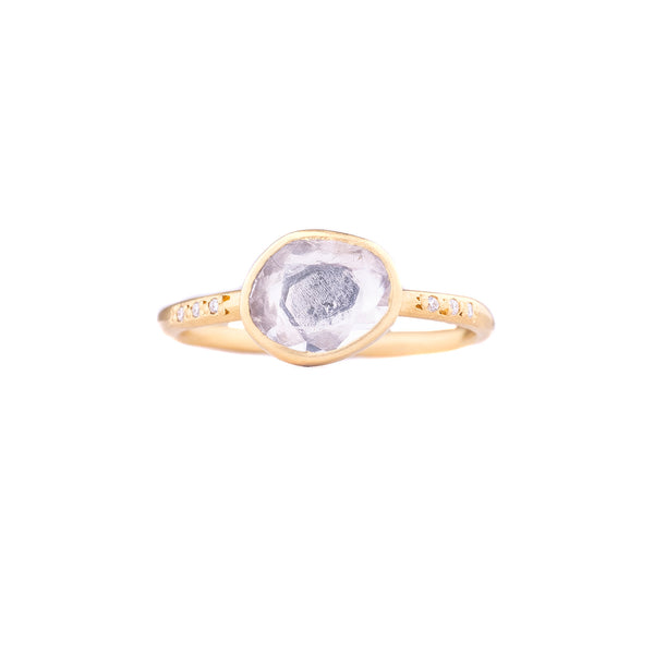 NEW! 18k Gold White Sapphire & Diamonds Band by Sarah Mcguire