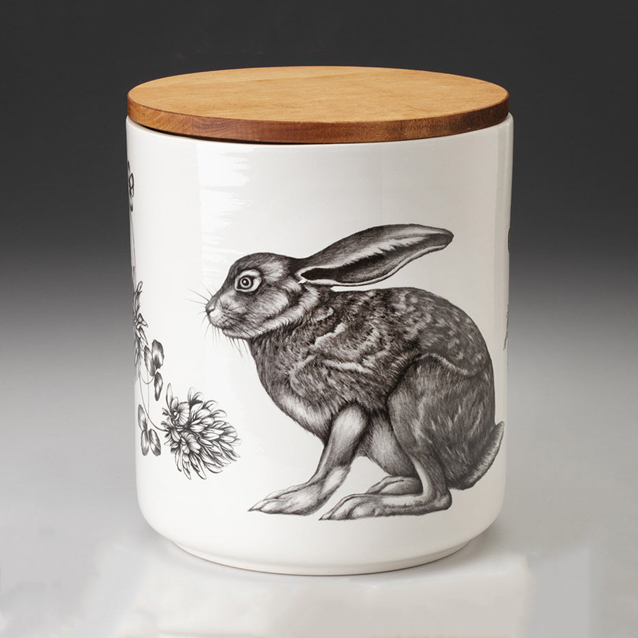 NEW! Crouching Hare Large Canister with Lid by Laura Zindel