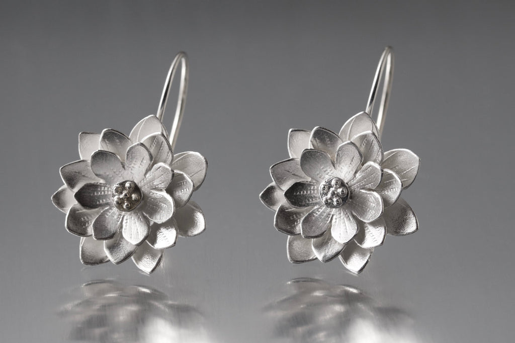 Lotus Loops Earrings in Silver by EAM