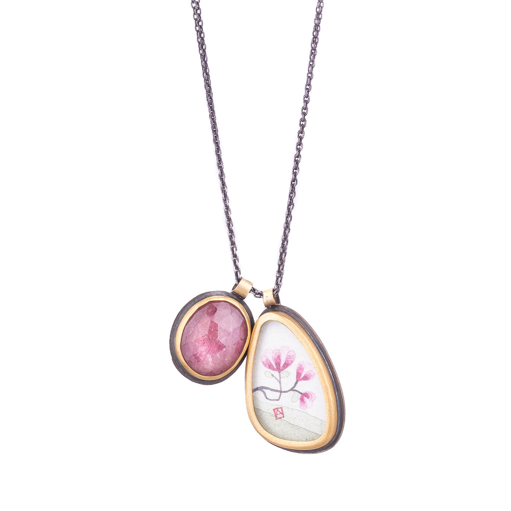 NEW! Magnolia Charm Necklace with Pink Tourmaline by Ananda Khalsa