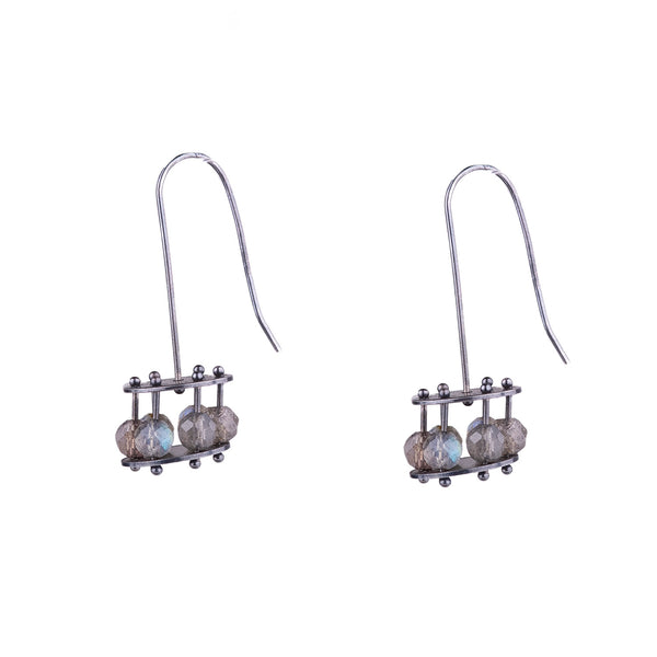 NEW! Medium Labradorite Cage Earrings by Ashka Dymel