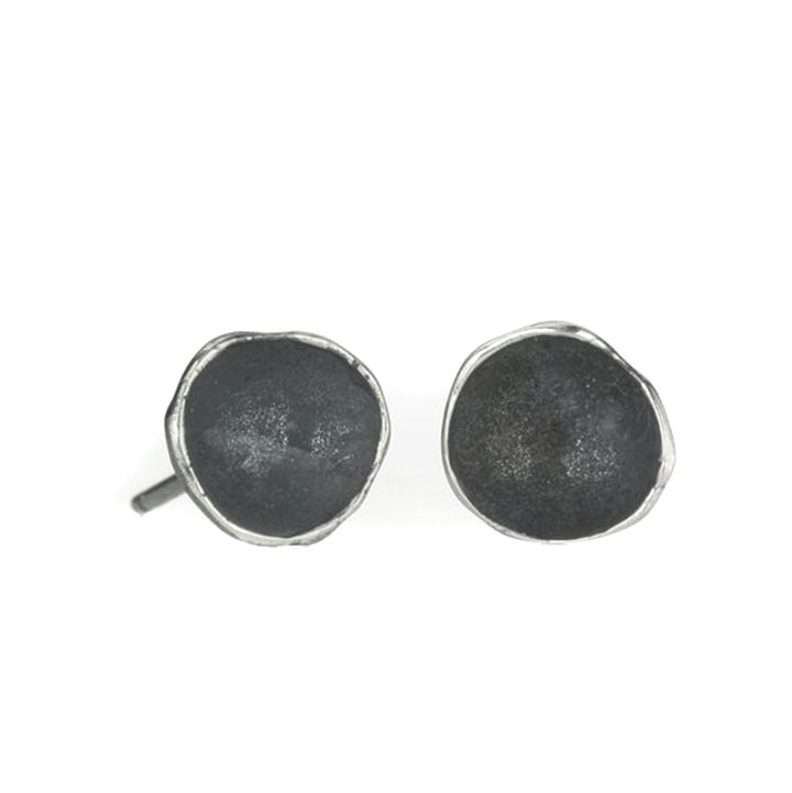 Medium Single Pod Earrings in Oxidized Silver by Sarah Richardson