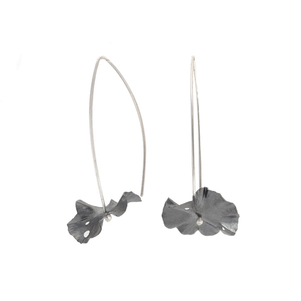 NEW! Oxidized Silver Medium Lily Pad Drop Earrings by Melle Finelli