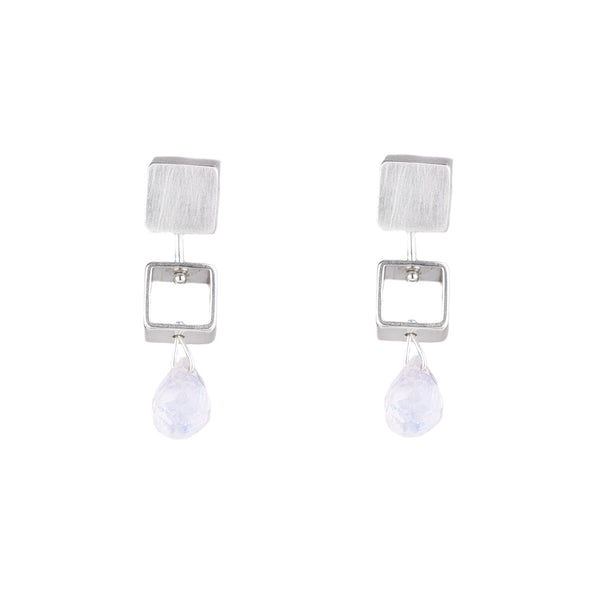 NEW! Mini Square Earrings in Moonstone by Ashka Dymel