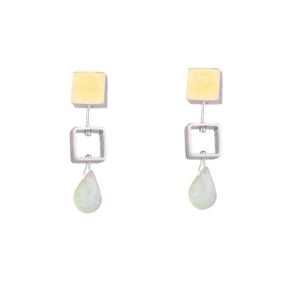 NEW! Mini Square Earrings in Prehnite by Ashka Dymel
