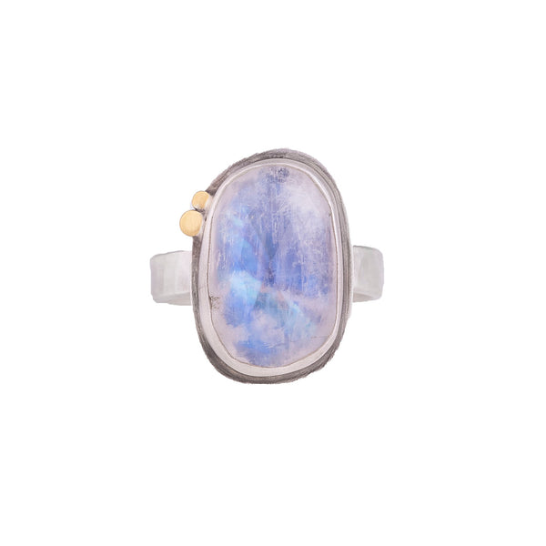 NEW! Rosecut Rainbow Moonstone Ring with 22k Dots by Ananda Khalsa