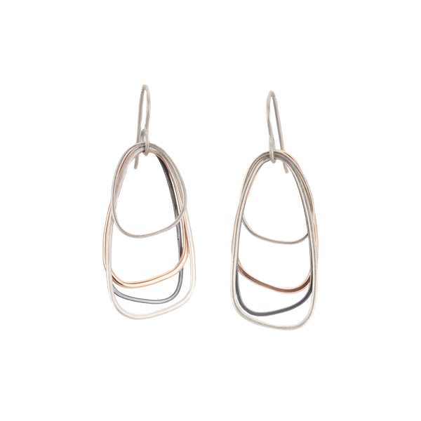 Yellow Gold, Silver & Black Multi Triangle Earrings by Colleen Mauer Designs