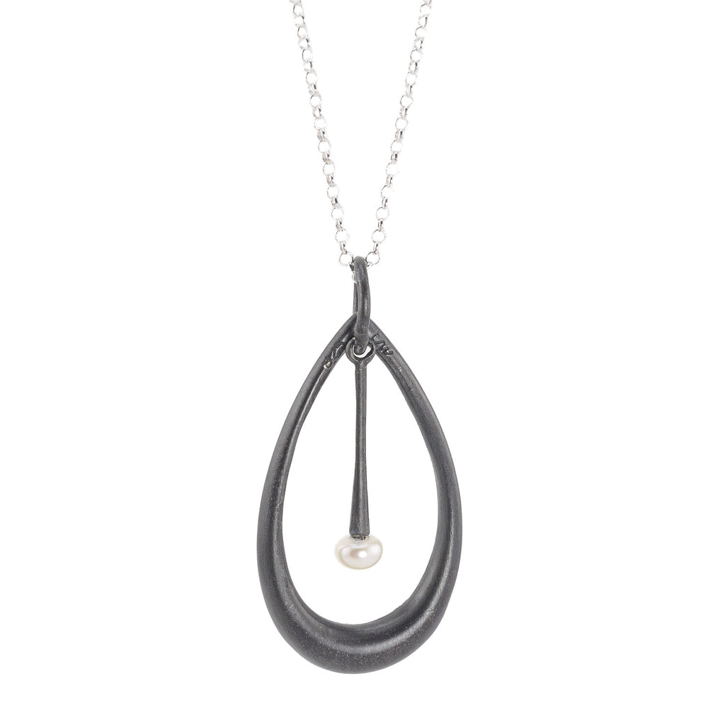 NEW! Oxidized Sterling Silver Teardrop with White Freshwater Pearl Necklace by Michelle Simon Jewelry