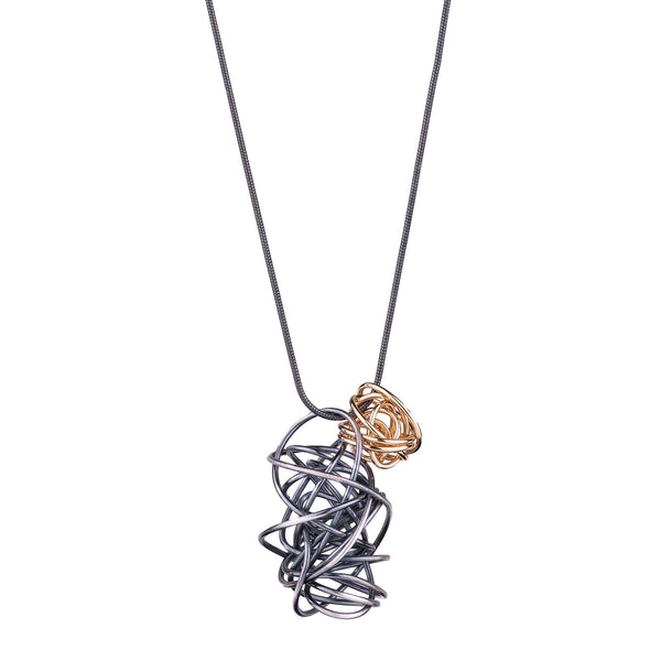 NEW! Mini Gold Fill Nest with Sterling Silver Ribbon Necklace by Rina Young