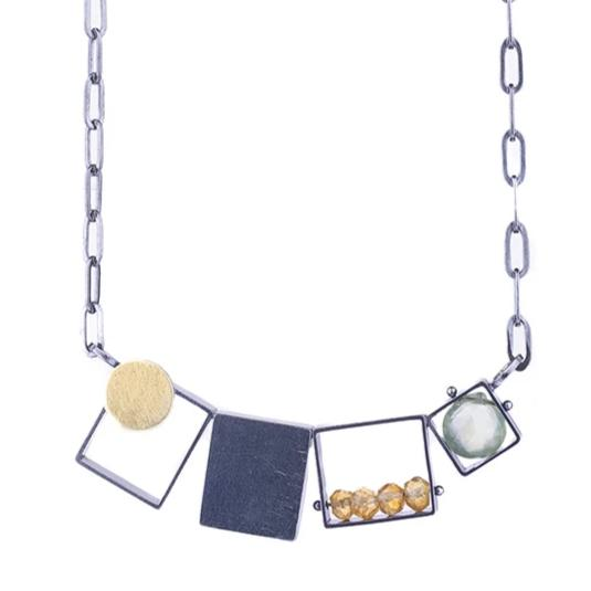 NEW! 3 Rectangles, One Square Necklace with Garnet & Labradorite by Ashka Dymel