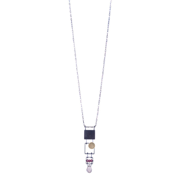NEW! Stacked Rectangle Necklace with 18k Bimetal dot, Garnet & Labradorite by Ashka Dymel