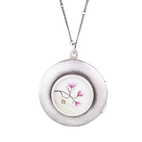 NEW! Large Round Magnolia Locket by Ananda Khalsa