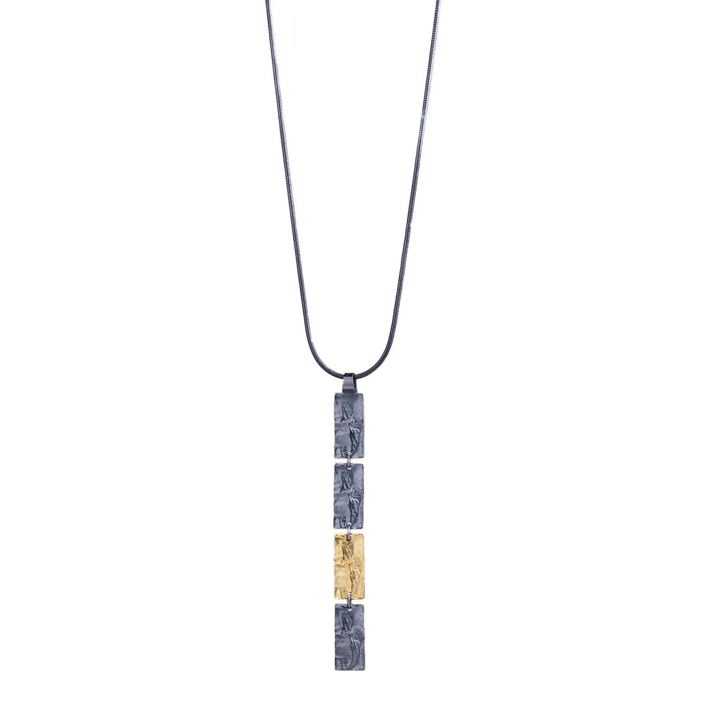 NEW! Reticulated Linear Pendant in Oxidized Silver & 18k Gold by Thea Izzi