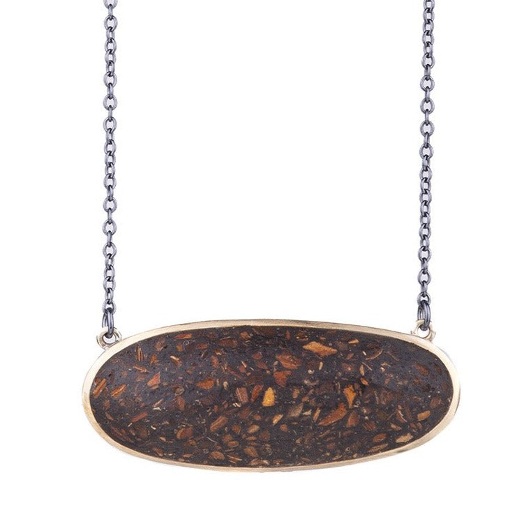 NEW! Bronze Oval Necklace with Bark by David Urso