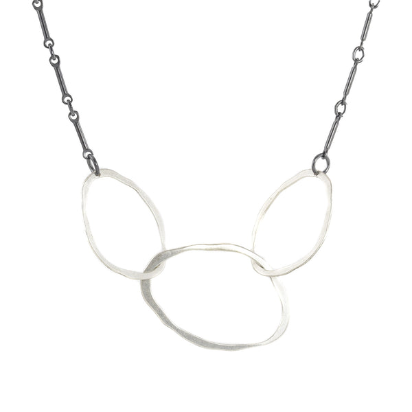 NEW! Tiny Linked 3 RC Necklace in Mixed Silver by Lisa Crowder