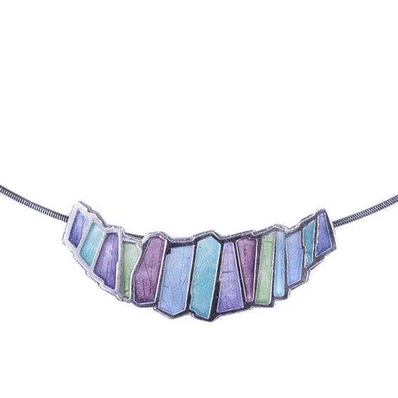 NEW! Multicolored Enamel Pendant on Wire by Carly Wright