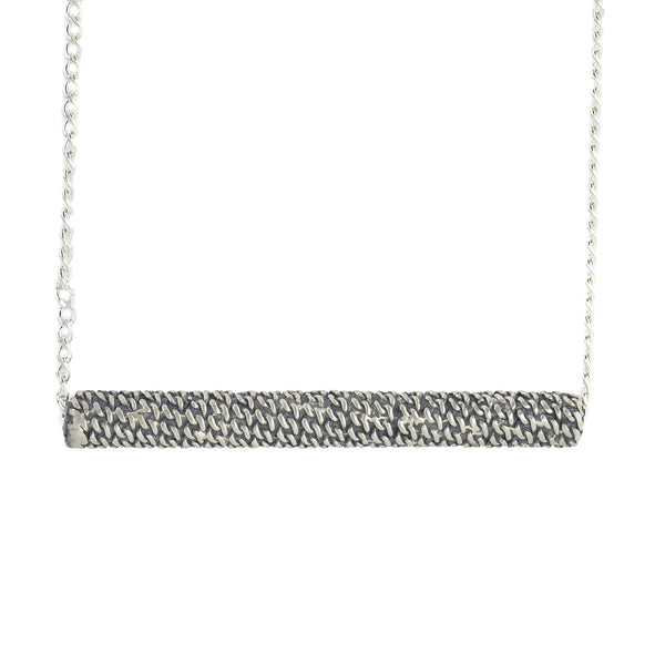 Textured Silver Scroll Necklace by Dushka