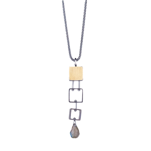 NEW! 3 Small Squares Necklace with Labradorite Teardrop by Ashka Dymel