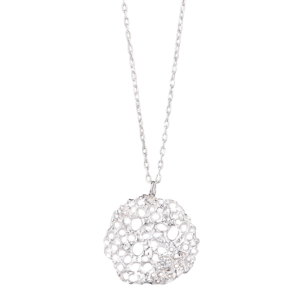 NEW! Textured Disc Pendant with Diamond Necklace by N+A