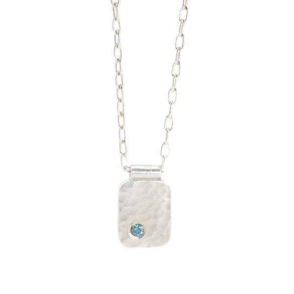 NEW! Rectangle Cell Pendant with Teal Diamond by EC Design