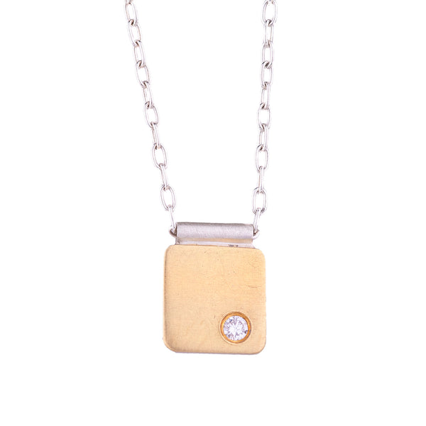 NEW! Yellow Gold Cell Pendant with Diamond by EC Design