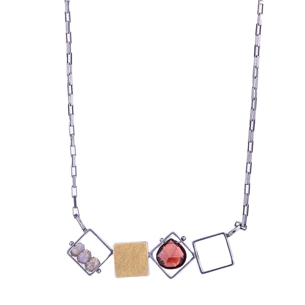 NEW! 4 Small Squares Necklace with Garnet & Labradorite by Ashka Dymel