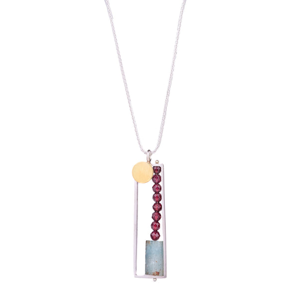 NEW! Vertical Frame Necklace with Bimetal Dot by Ashka Dymel