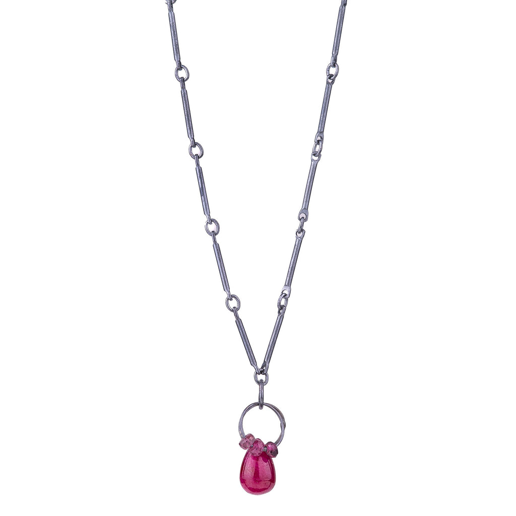NEW! Mini Tangle Necklace with Ruby & Garnet by Heather Guidero