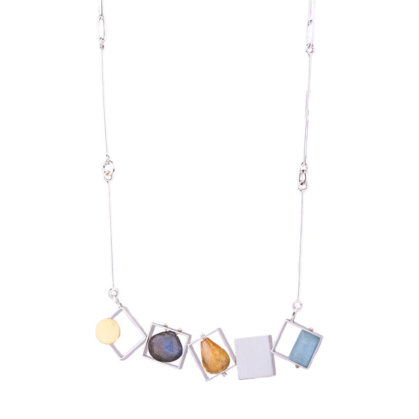 NEW! 5 Rectangles Necklace with Large Jewels by Ashka Dymel
