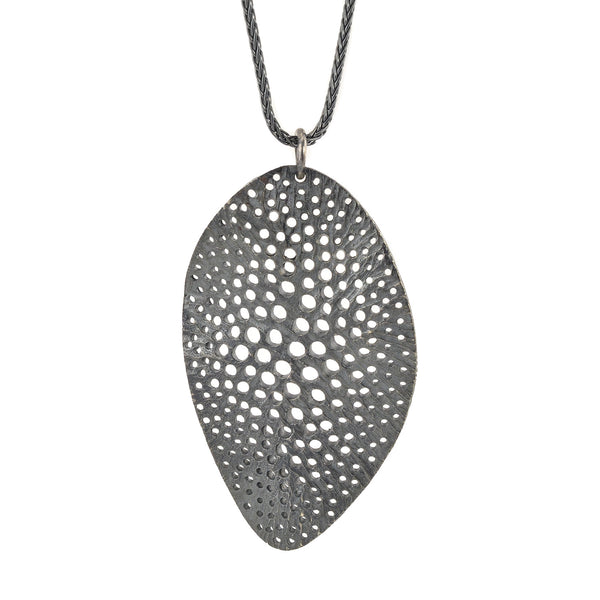 NEW! Oxidized Silver Large Drop Siv Wavy Pendant by Dahlia Kanner