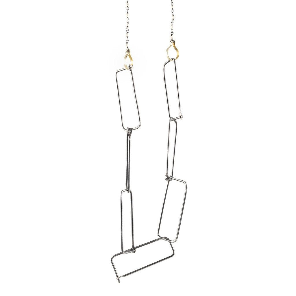NEW! Steel, Brass, Sterling Silver and Pearl Necklace by Eric Silva