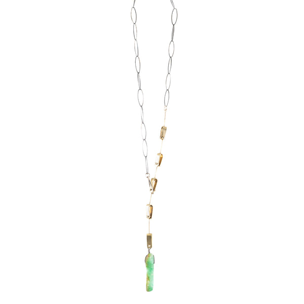 NEW! Brass, Sterling Silver and Raw Chrysoprase Necklace by Eric Silva