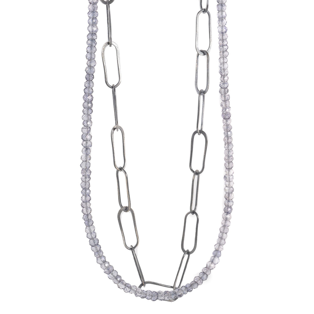 NEW! Long Sterling Silver and Blue Quartz Necklace by Eric Silva