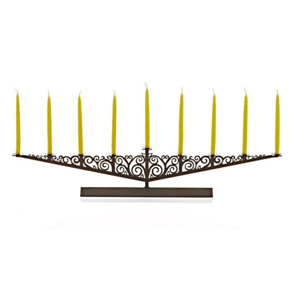 Oiled Bronze Menorah by Valerie Atkisson - Fire Opal