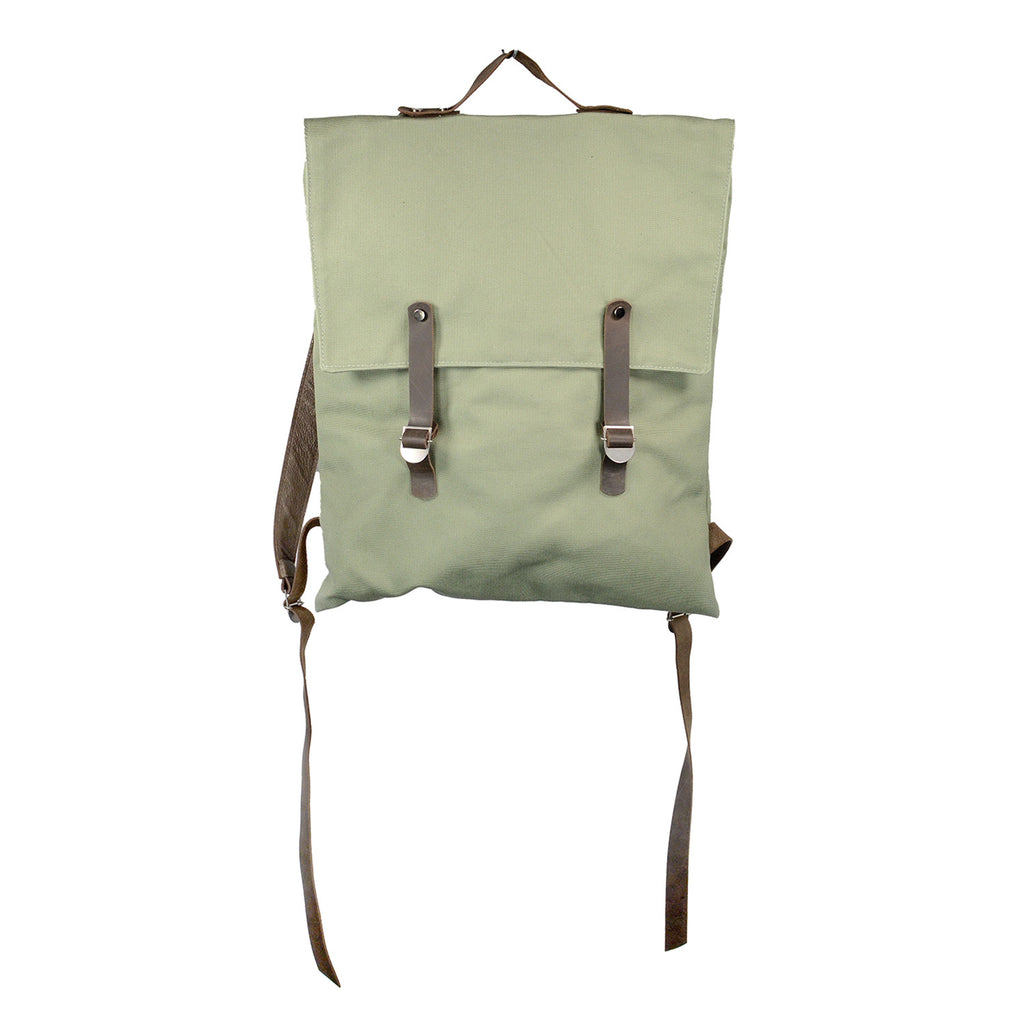 SALE! Canvas Hobo Backpack with Leather Straps in Sage by Kisim