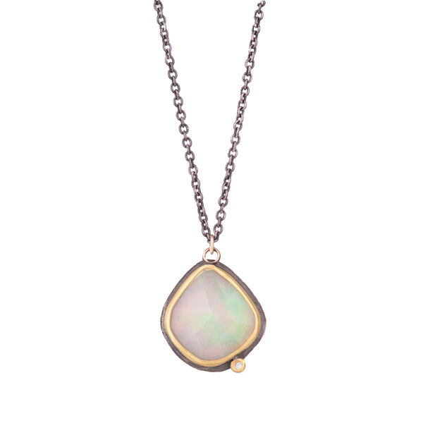 NEW! Rosecut Ethiopian Opal Necklace with Diamond by Ananda Khalsa