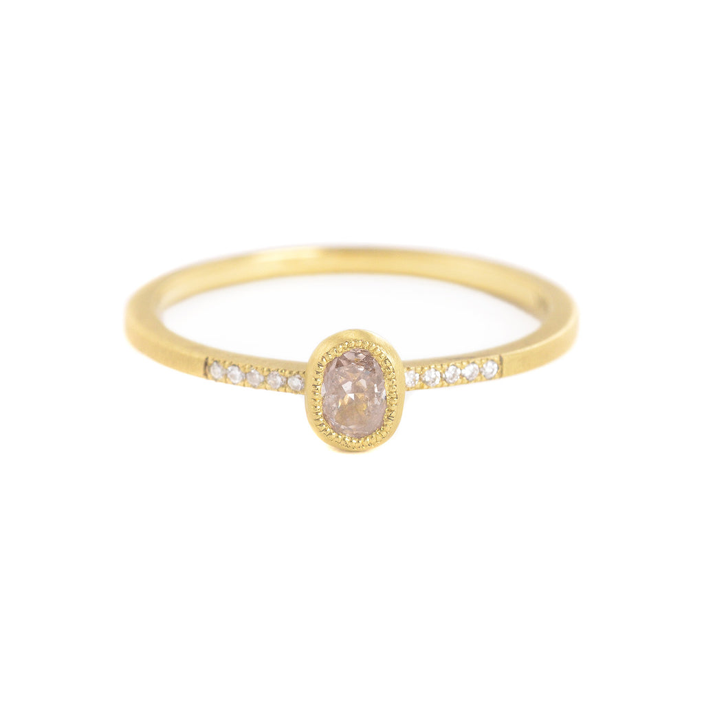 Blockette Oval Light Opaque Diamond Pave Ring by Dawes Designs