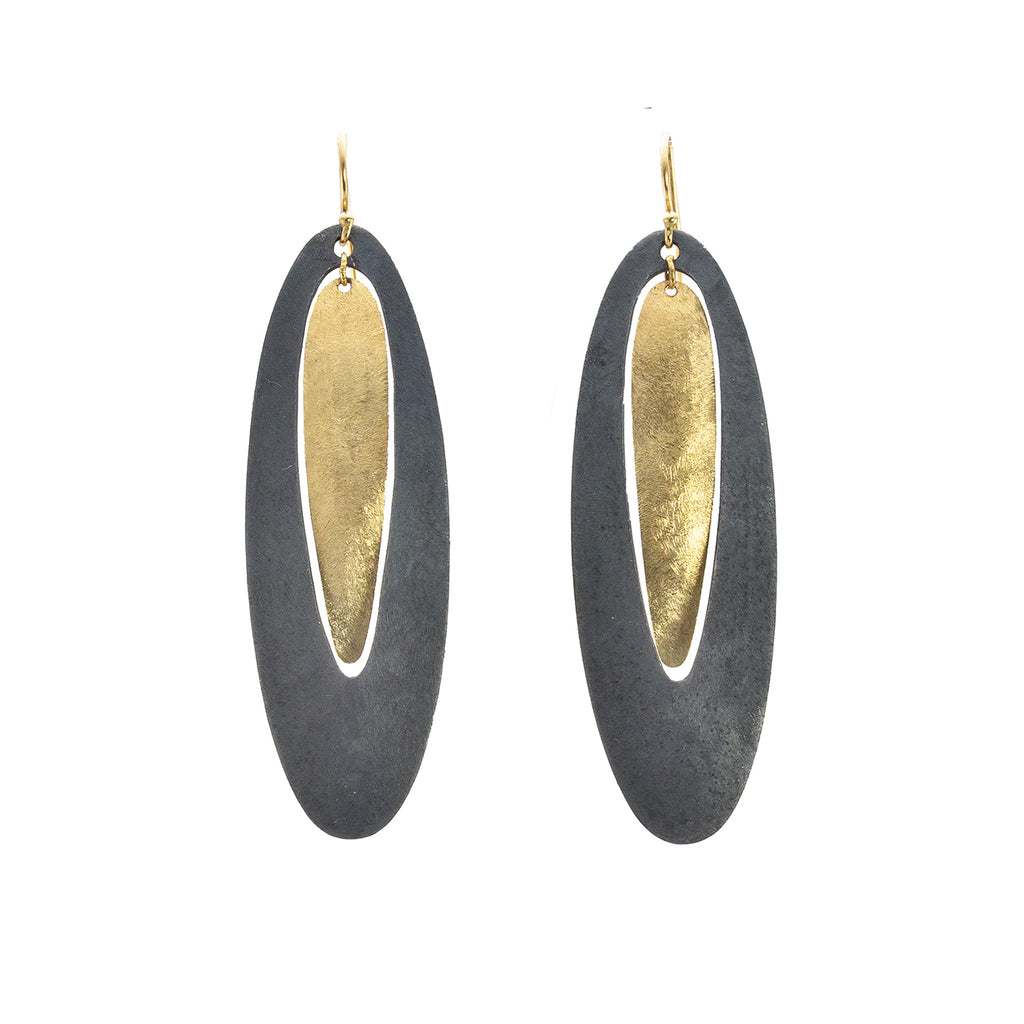 Two Toned Open Oval Earrings in Black by Shaesby