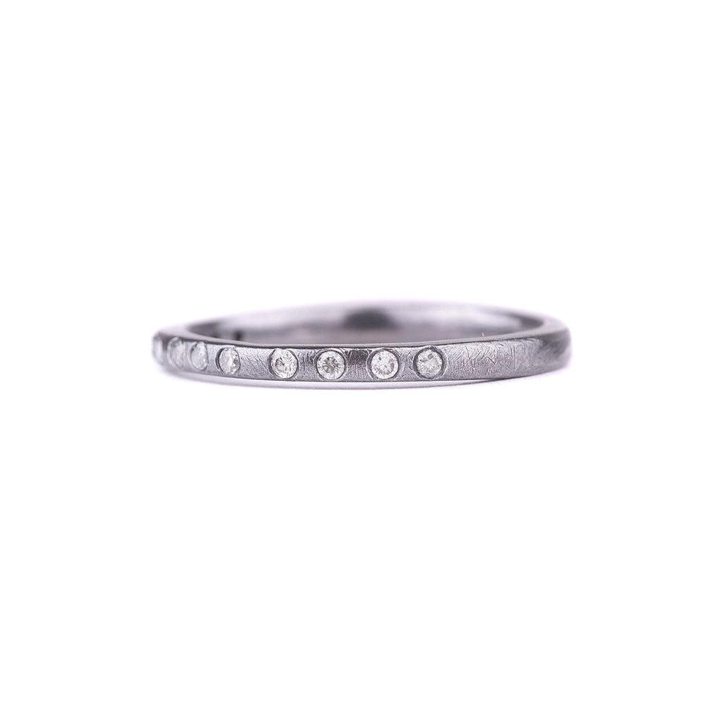 NEW! Radiance Stacker Ring-Oxidized Silver with Diamonds by Kate Maller