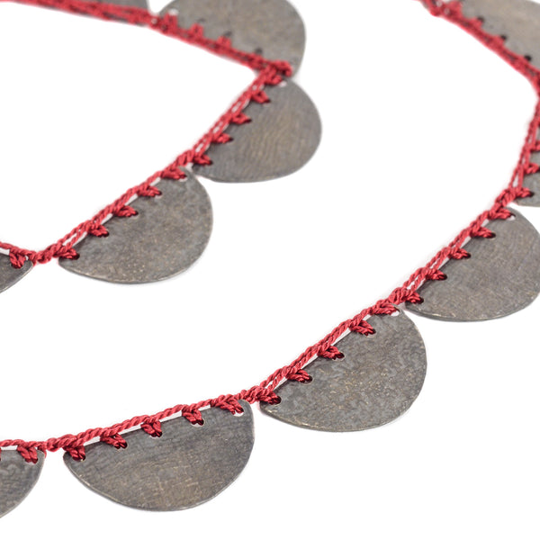 Red Cleopatra Semi-Circles Necklace by Erica Schlueter